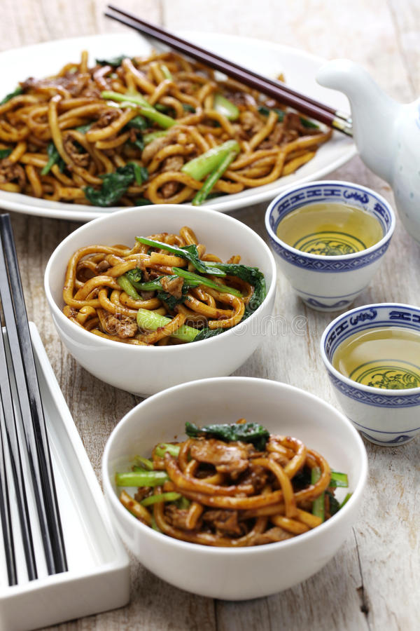Shanghai fried noodle, Shanghai chow mein. Chinese food stock photo