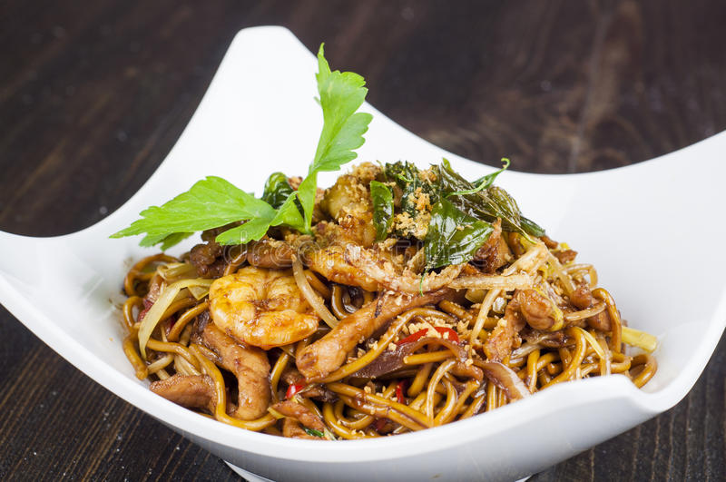 Shanghai fried noodles. Spicy food royalty free stock images