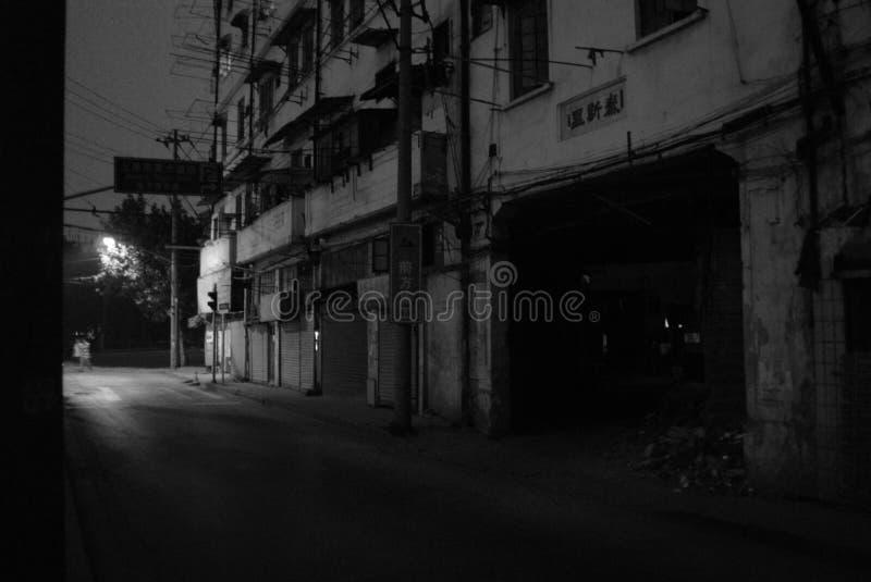 Shanghai gataplats - natt royaltyfria foton