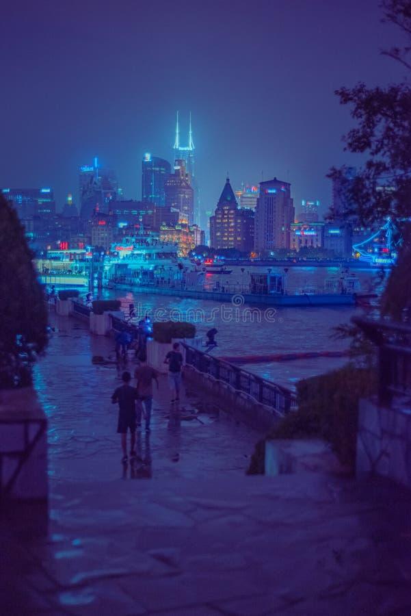 Shanghai hamn på natten royaltyfria foton