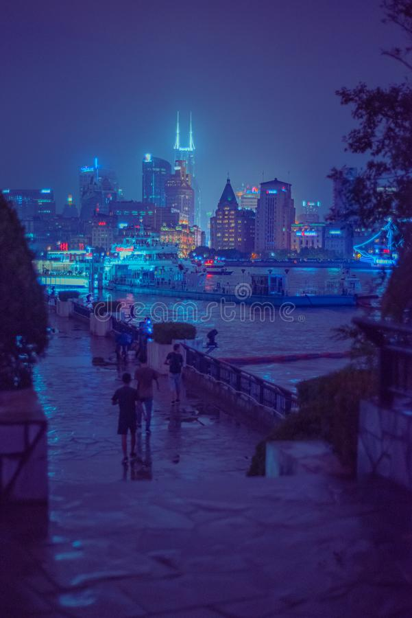 Shanghai harbour at night royalty free stock photos