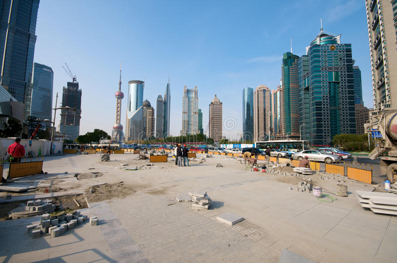 Shanghai in heavy construction royalty free stock photo