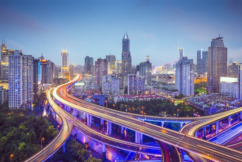 Shanghai huvudvägar arkivfoto