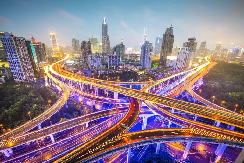 Shanghai huvudvägar royaltyfri foto