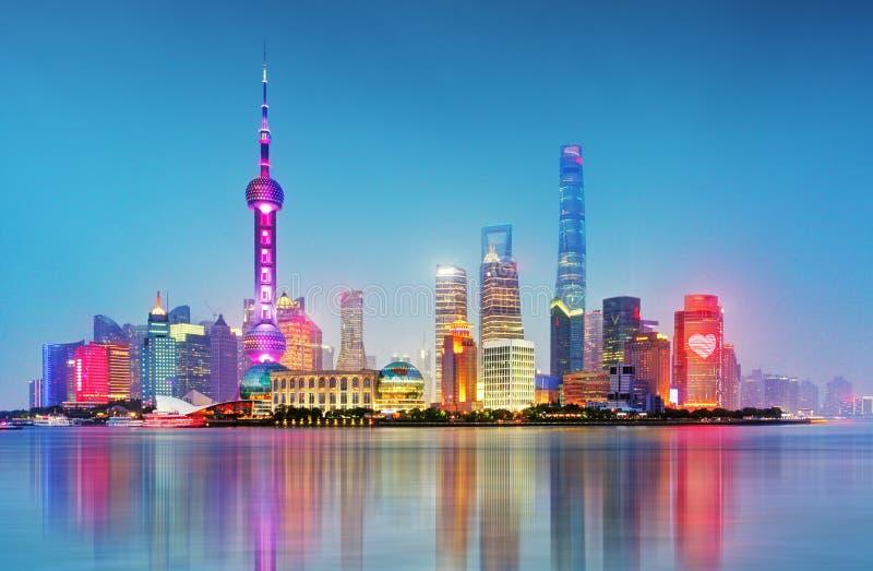 Shanghai i stadens centrum pudong, Kina royaltyfri fotografi