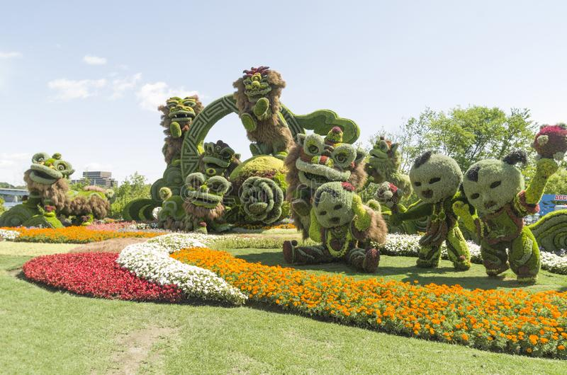 From Shanghai: Joyful Celebration of the Nine Lions. MosaïCanada 150, Gatineau Quebec Canada August 24, 2017: A celebration of Canada`s 150 years of stock image