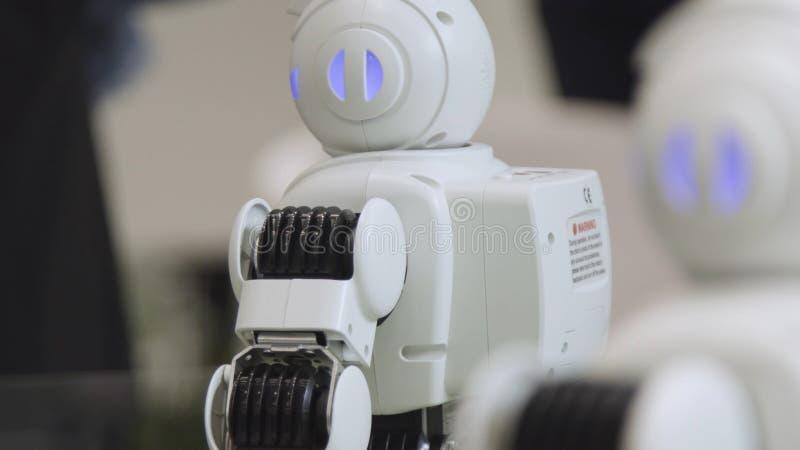 SHANGHAI - JUNI 28 2018: Een kleine robot met menselijk gezicht en lichaam - humanoid Close-up van een leuke autonome de dienstro royalty-vrije stock fotografie