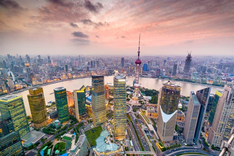 Shanghai Kina Cityscape arkivfoton