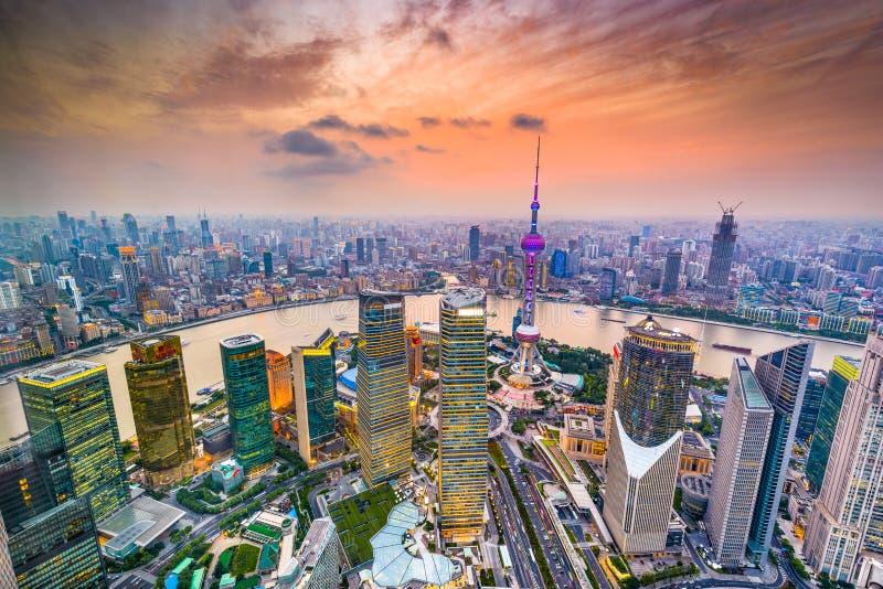 Shanghai Kina flyg- finansiell områdesCityscape arkivfoton