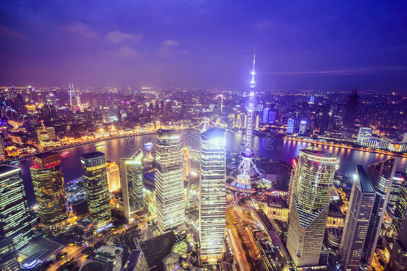 Shanghai Kina stadshorisont royaltyfri fotografi