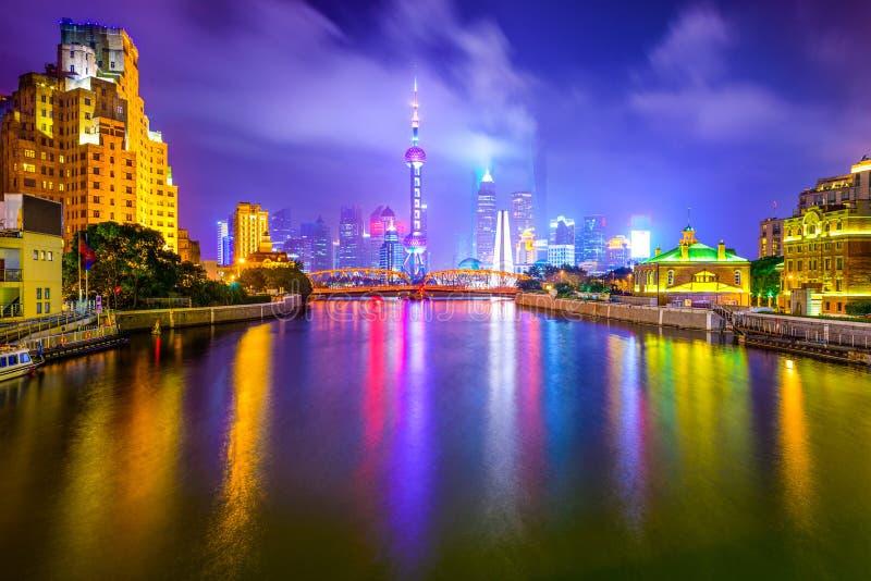Shanghai Kina stadshorisont arkivfoton