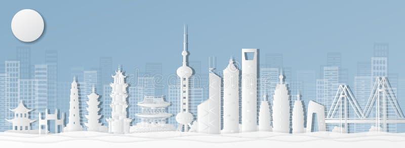 Shanghai Kina vykort av värld-berömda gränsmärken, panoramor, turnerar, värld-berömda ställen i pappers- klippt stilvektorillustr arkivbilder