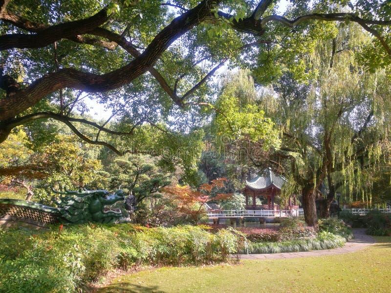 Shanghai lilaträdgård arkivbild