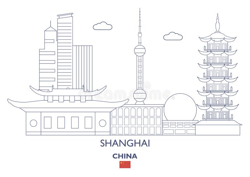 Shanghai City Skyline, China stock illustration