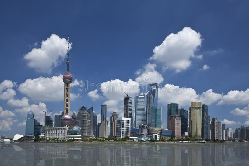 Shanghai Lujiazui. Lujiazui, Shanghai is China`s international financial and trading center, located opposite the Shanghai Bund, the symbol of China`s economic stock image