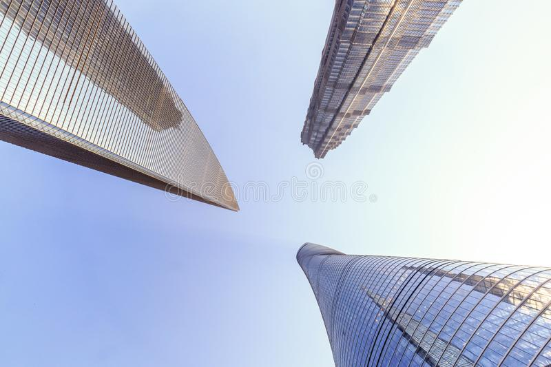 Shanghai Lujiazui Cityscape from low angle view. Shanghai Lujiazui Cityscape during the sunset and night stock photos