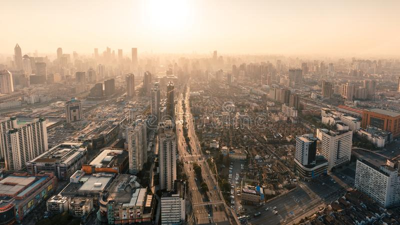 Shanghai Lujiazui Cityscape during the sunset. And night royalty free stock images
