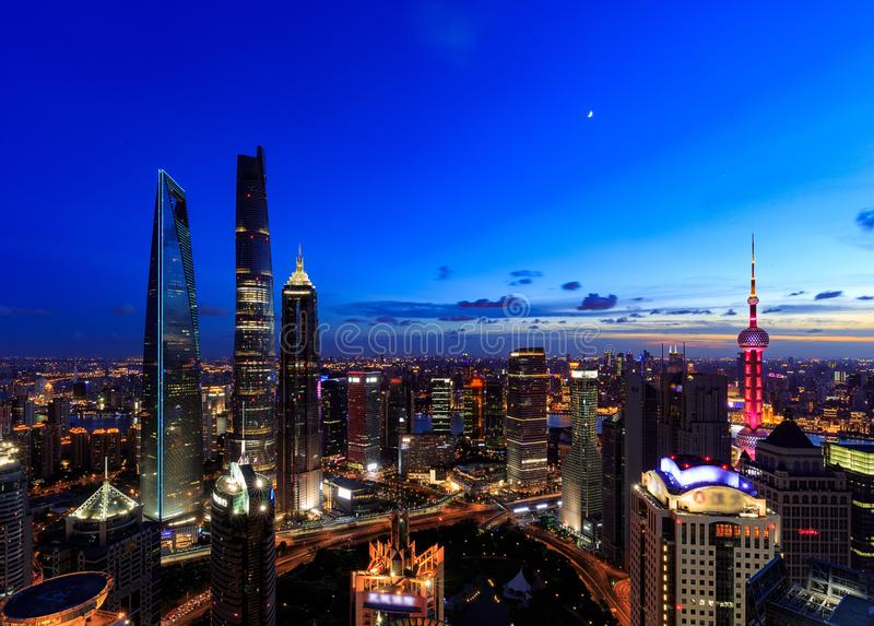 Shanghai Lujiazui Cityscape during the sunset. And night royalty free stock photos