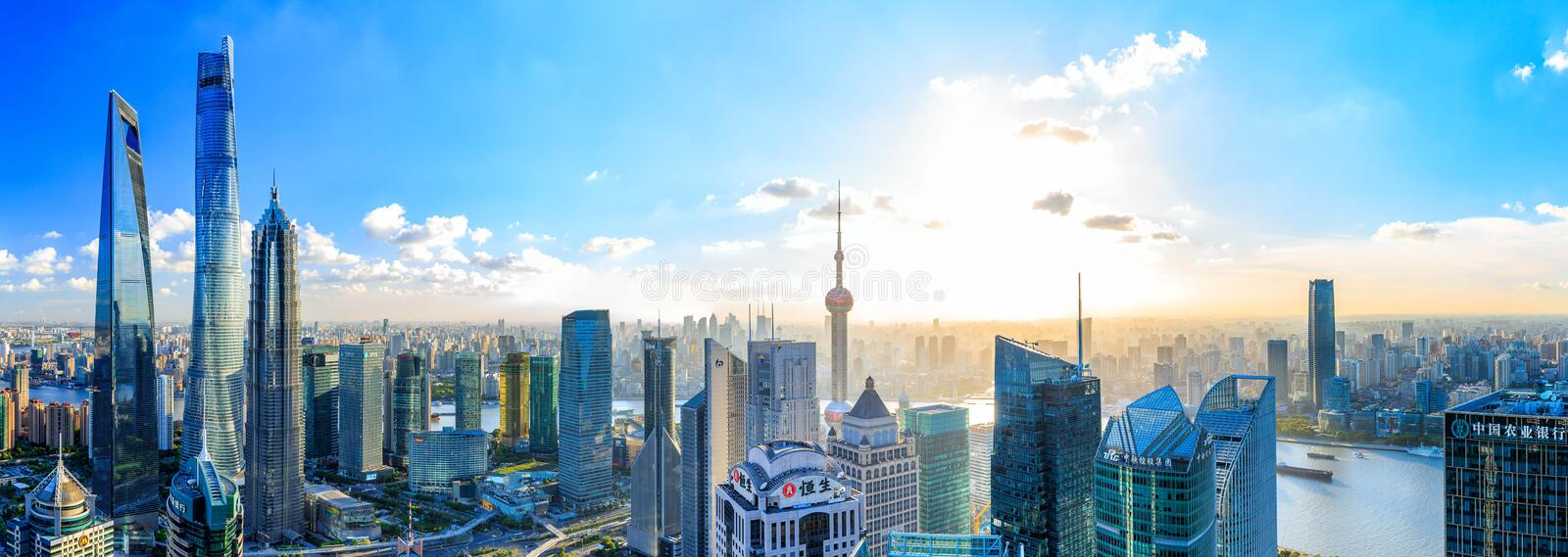 Shanghai Lujiazui Cityscape during the sunset. And night stock photos