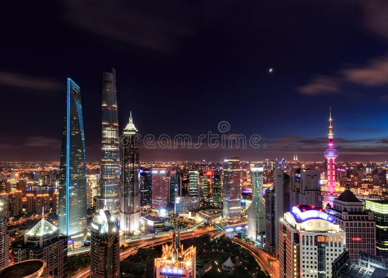 Shanghai Lujiazui Cityscape during the sunset. And night stock image