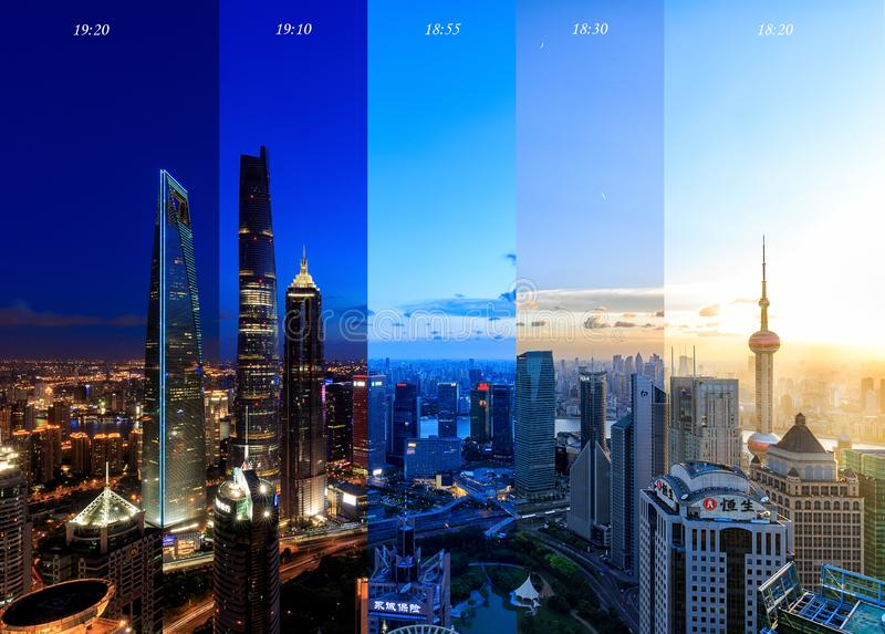 Shanghai Lujiazui Cityscape during the sunset. And night, time slice of Shanghai Cityscape in different time stock images