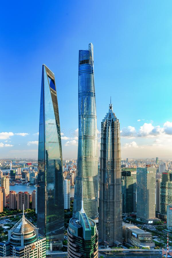 Shanghai Lujiazui Cityscape during the sunset. And night stock photography