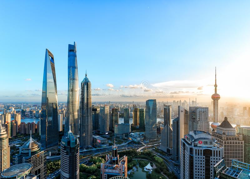 Shanghai Lujiazui Cityscape during the sunset. And night royalty free stock photo
