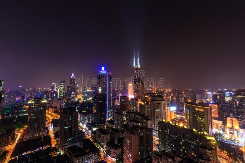 Shanghai Lujiazui Cityscape during the sunset. And night stock images