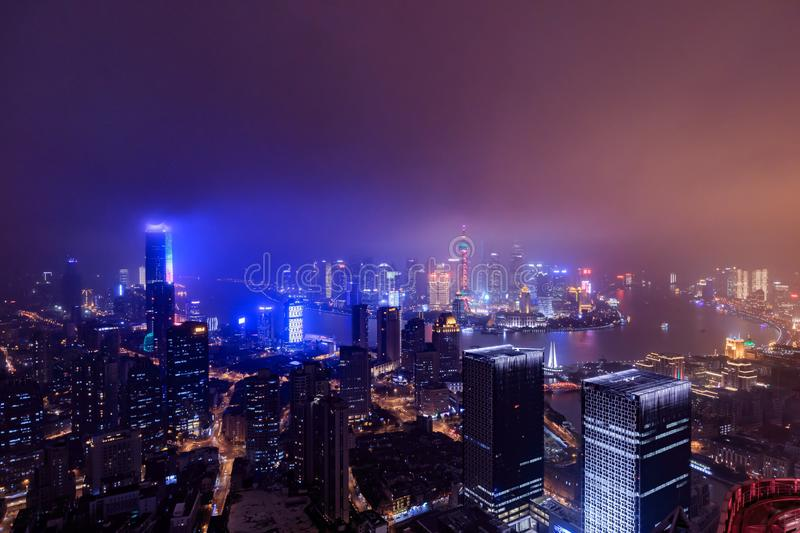 Shanghai Lujiazui Cityscape during the sunset. And night stock photo