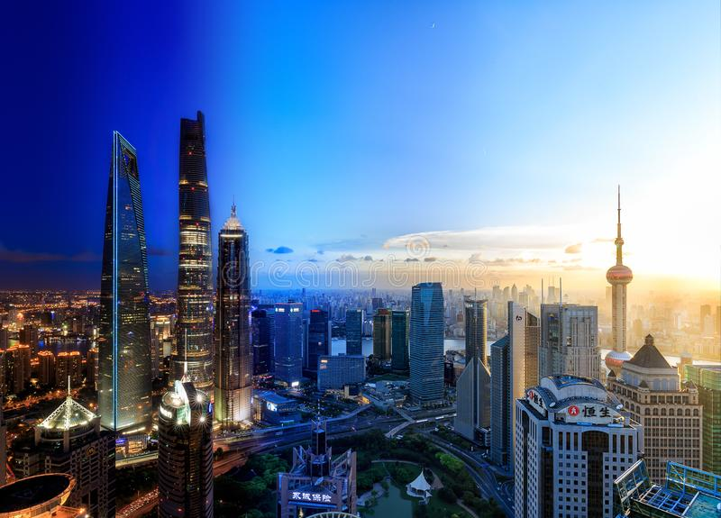 Shanghai Lujiazui Cityscape during the sunset. And night, time slice of Shanghai Cityscape in different time stock photo