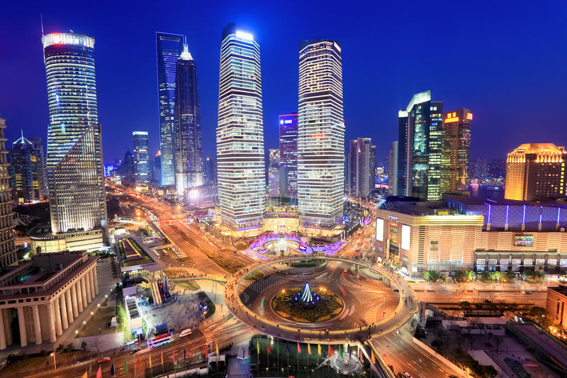 Shanghai lujiazui financial center in the evening. View from the oriental pearl tv tower royalty free stock photo
