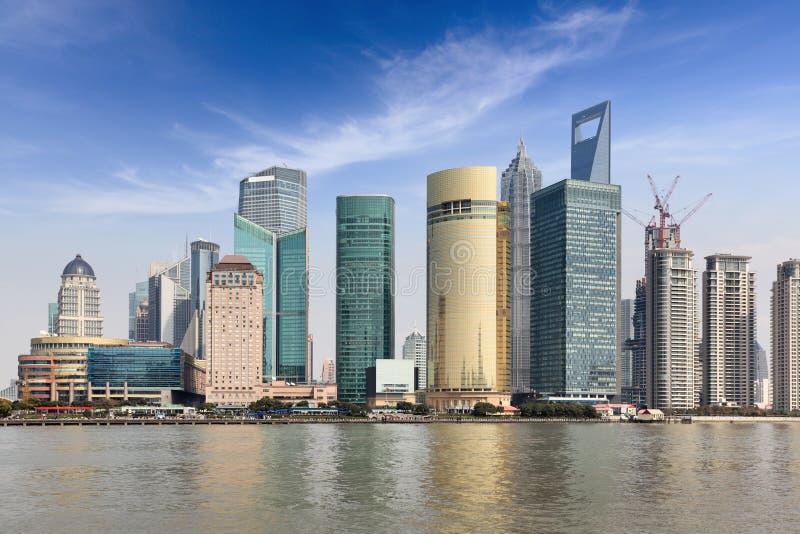 Shanghai lujiazui financial trade center. Shanghai lujiazui financial and trade center with blue sky royalty free stock photos