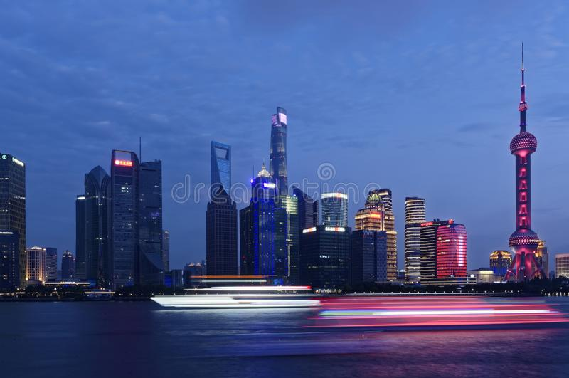 Shanghai Lujiazui Night view. The traditional area of Pudong is now home to the Lujiazui Finance and Trade Zone and the Shanghai Stock Exchange and many of stock image
