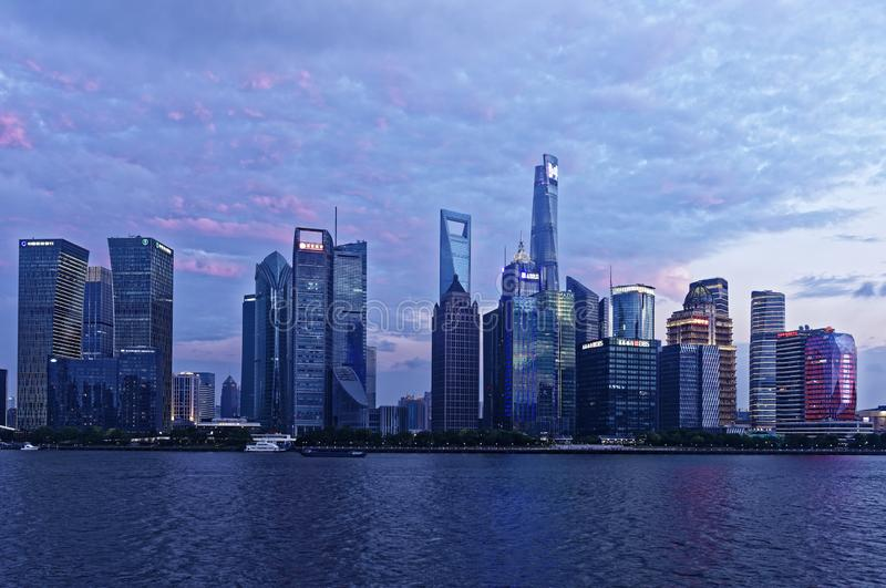 Shanghai Lujiazui sunset. The traditional area of Pudong is now home to the Lujiazui Finance and Trade Zone and the Shanghai Stock Exchange and many of Shanghai` stock photos
