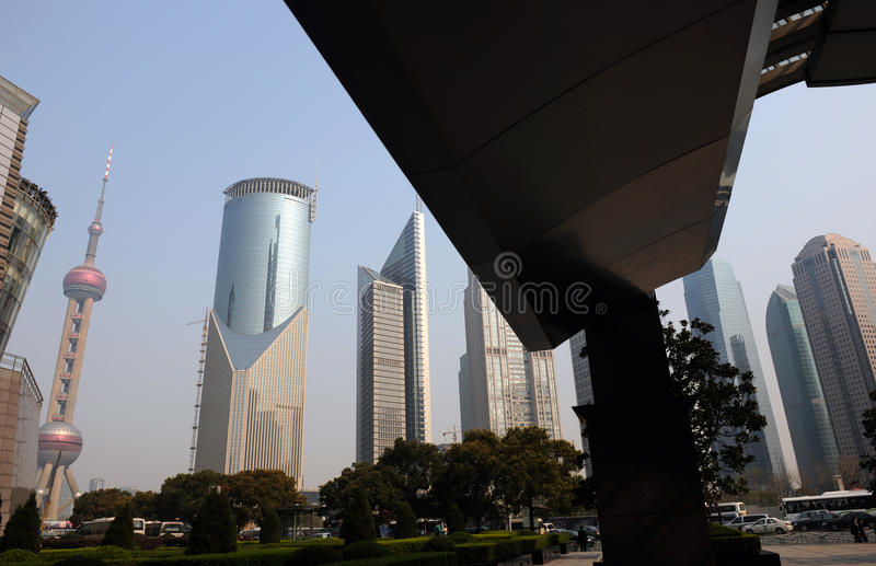 Shanghai modern buildings. Skyline in Shanghai with modern buildings. China royalty free stock photography