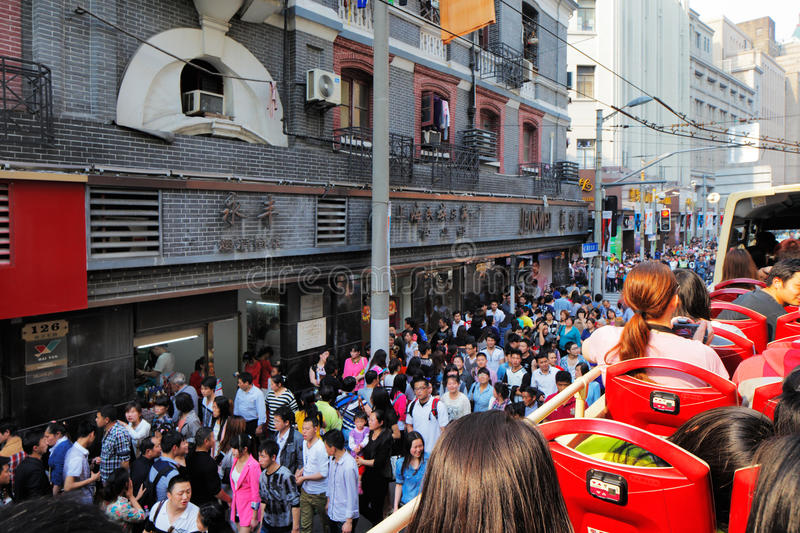 Shanghai is the most popular city in China. Where streets and transport are packed with people royalty free stock image