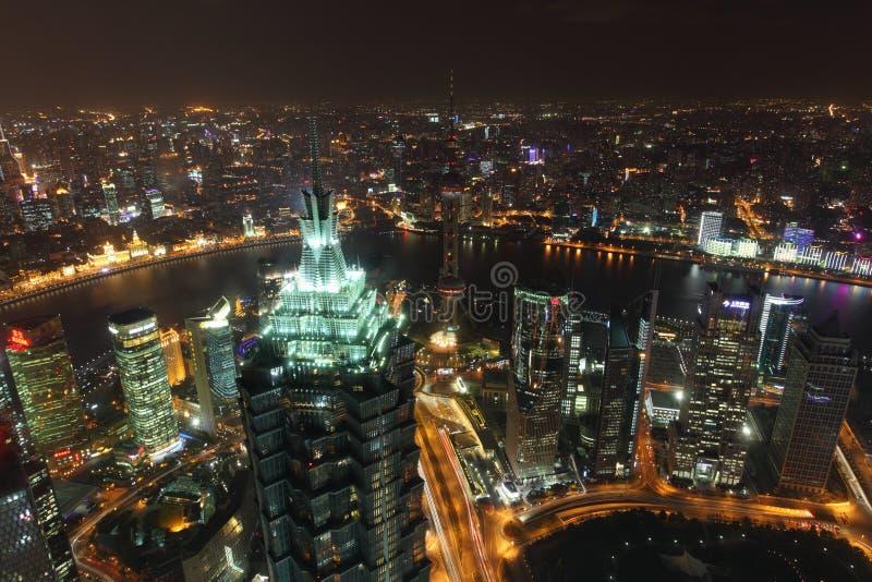 Shanghai na noite imagens de stock