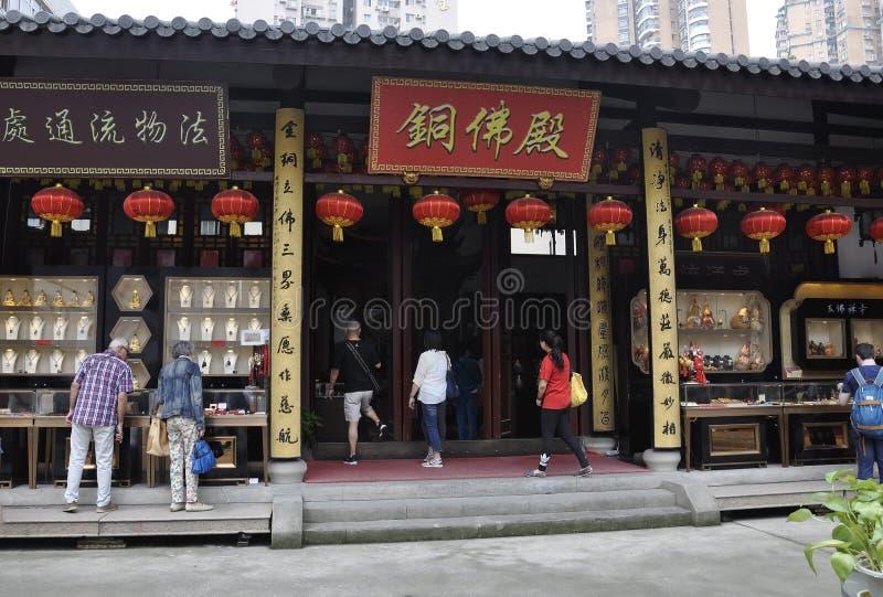 Shanghai 2nd kan: Att besöka för turister shoppar från Jade Buddha Temple i Shanghai arkivfoton