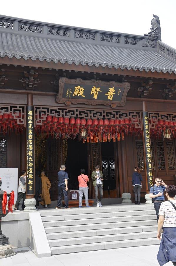 Shanghai 2nd kan: Den Jade Buddha Temple borggårdbyggnaden från Shanghai royaltyfri fotografi
