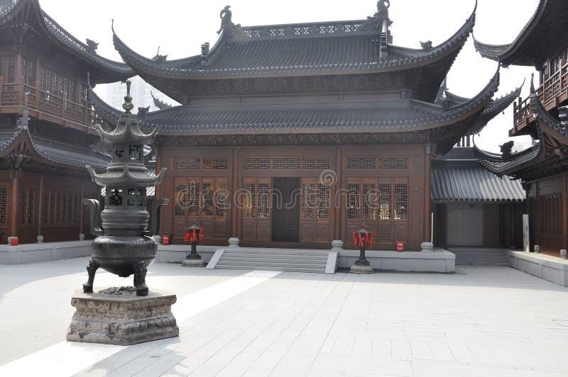 Shanghai 2nd kan: Den Jade Buddha Temple borggårdbyggnaden från Shanghai arkivbilder