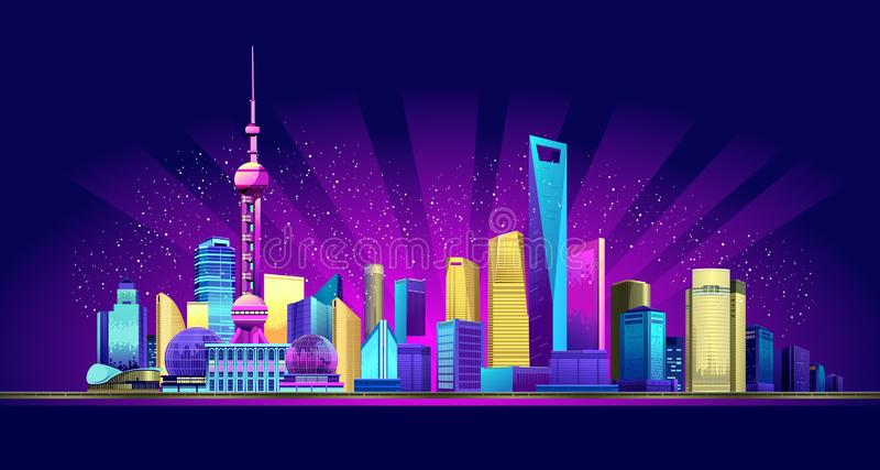 Shanghai Neon City. Vector horizontal illustration of the promenade night, the Chinese city of Shanghai in the neon glow of skyscrapers houses buildings stock illustration