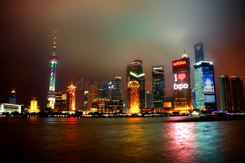 Download Shanghai night editorial photo. Image of skyscraper, city - 15530216