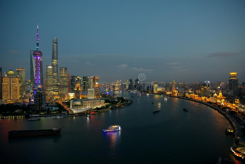 Shanghai at night - The Bund, Huangpu River and Lujiazui financial area stock photography