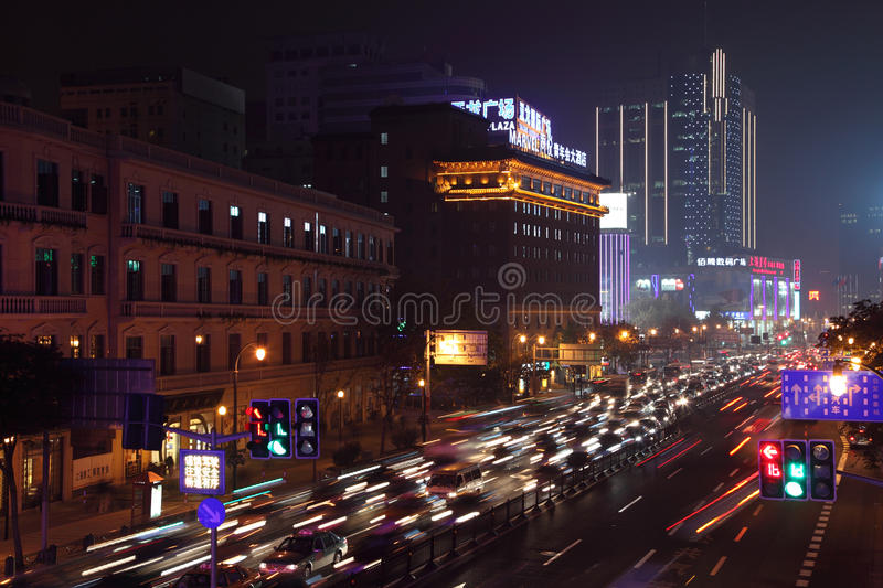 Download Shanghai at night, China editorial stock image. Image of downtown - 34127114