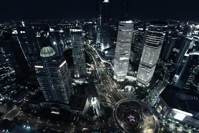 Shanghai night view. Late in the evening, China royalty free stock images