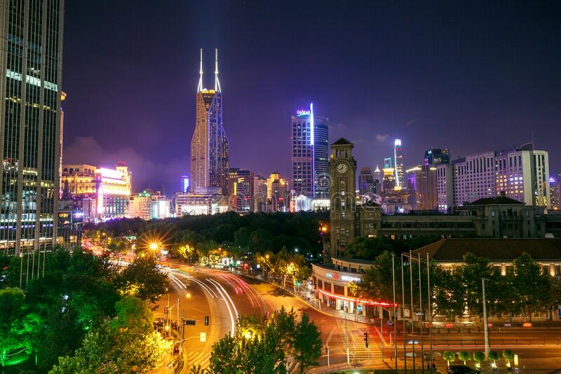 Shanghai at night royalty free stock images