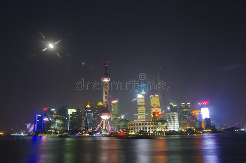 SHANGHAI - NOV. 15.2013 Shanghai Skyline in night,China,bund in Shanghai royalty free stock photo