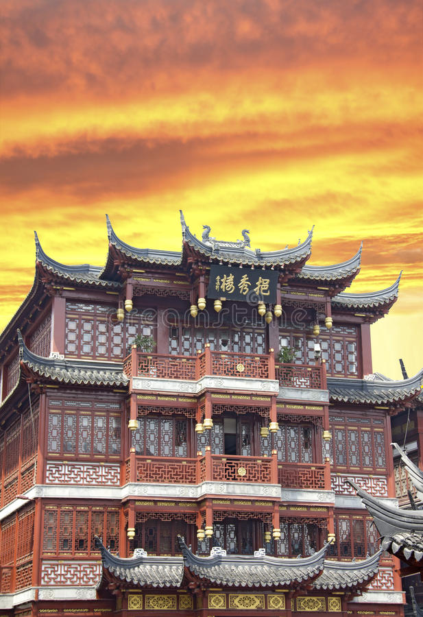 Shanghai old town. During a sunset stock photo
