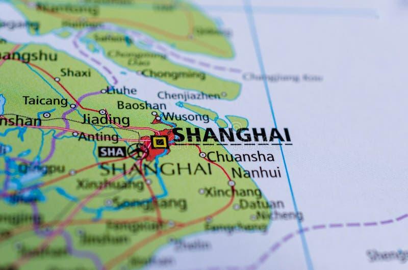 Shanghai op kaart stock foto's
