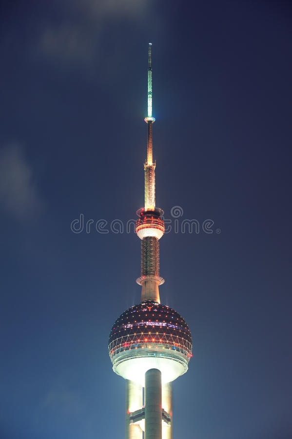 Shanghai Oriental Pearl. SHANGHAI, CHINA - MAY 28: Oriental Pearl Tower over river on May 28, 2012 in Shanghai, China. The tower was the tallest structure in stock photography